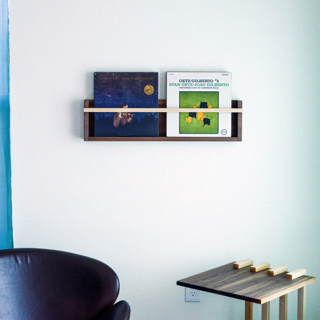 Modern Floating Magazine + Vinyl Wall Rack