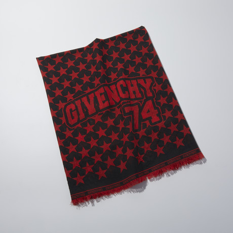 Givenchy // Wool Star Scarf // Red