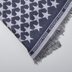 Givenchy // Large Wool Paris Stars Scarf // Blue