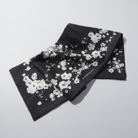 Givenchy // Silk Flowers Scarf // Black
