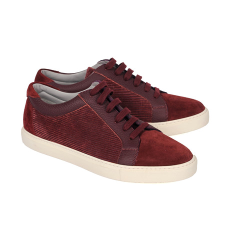 Two Tone Textured Suede Fashion Sneaker // Burgundy (Euro: 39)