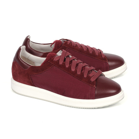 Two Tone Suede Fashion Sneaker // Burgundy (Euro: 39)
