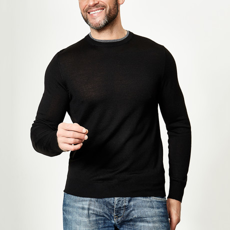 Wool Round Neck Pullover // Black (XS)