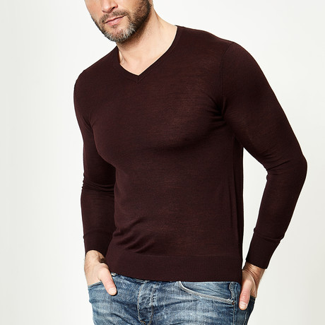 Wool V-Neck Pullover // Plum (XS)