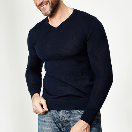 Wool V-Neck Pullover // Navy (XS)