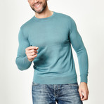 Wool Round Neck Pullover // Blue Oil (XS)
