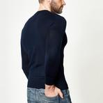 Wool Round Neck Pullover // Navy (XS)