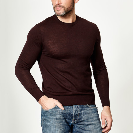 Wool Round Neck Pullover // Plum (XS)