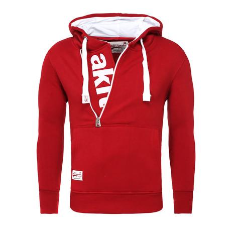 Kapuzen Vertical Zip Sweater // Red + White (S)