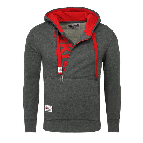 Kapuzen Vertical Zip Sweater // Anthracite + Red (S)