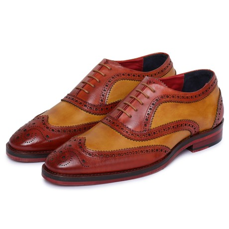 Wingtip Brogue Oxford // Red + Tan (US: 8)
