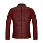 Quilted Leather Jacket // Dark Red (M)
