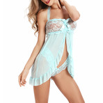 Open Front Lace Babydoll + G-String Set // Blue (XL)