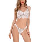 Thin Transparent Lace Bra + Panty Set // White (S)