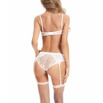 Transparent Bra + Panty // 2-Piece Set // White (XL)
