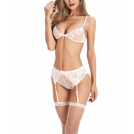 Transparent Bra + Panty // 2-Piece Set // White (S)