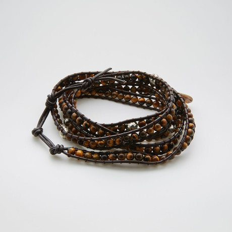 Multiwrap Leather Bracelet // Skull + Tiger Eye