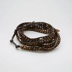 Jean Claude Jewelry // Skull + Tiger Eye Multiwrap Leather Bracelet // Brown