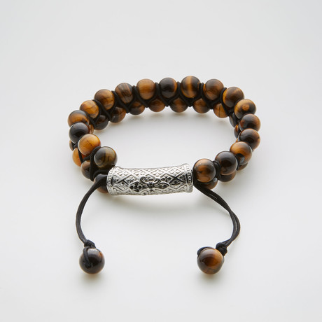 Tiger Eye Adjustable Beaded Bracelet // Brown