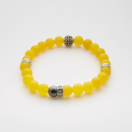 African Jade + Hematite Bracelet // Yellow