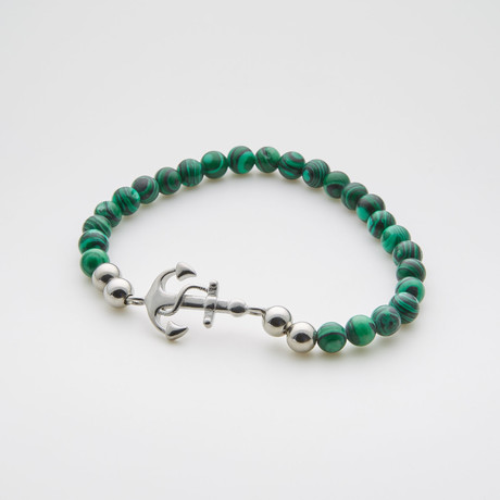 Anchor Charm Beaded Bracelet // Turquoise + Stainless Steel