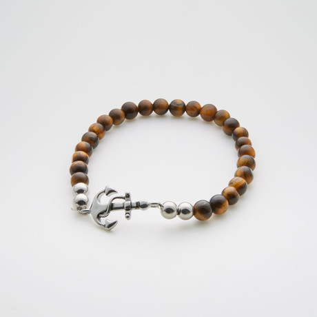 Anchor Charm Beaded Bracelet // Tiger Eye + Stainless Steel