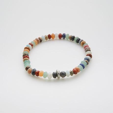 Dell Arte // Rondelle Agate + Aventurine + Jasper Beaded Bracelet // Multicolor