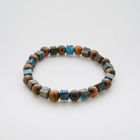 Water + Land Mix Bracelet // Tiger Eye + Square Emperor Stone
