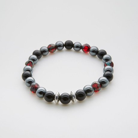 Pomegranate Luck Beaded Bracelet // Bohemian Crystal + Black Onyx + Hematite