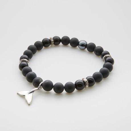 Whale Tail Charm Bracelet // Onyx + Lava Stone