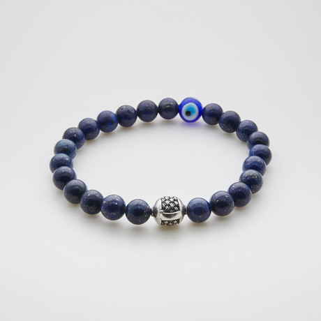 Evil Eye Beaded Bracelet // Lapis + Sterling Silver