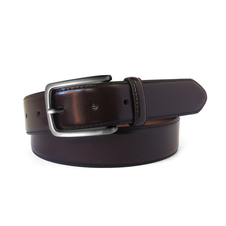 Aiden Leather Dress Belt // Burgundy (32)