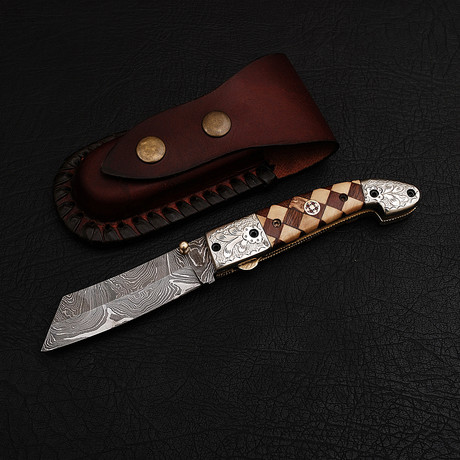 Handmade Damascus Liner Lock Folding Knife // 2729