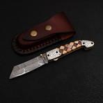 Handmade Damascus Liner Lock Folding Knife // 2729