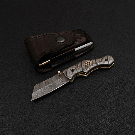 Handmade Damascus Liner Lock Folding Knife // 2734
