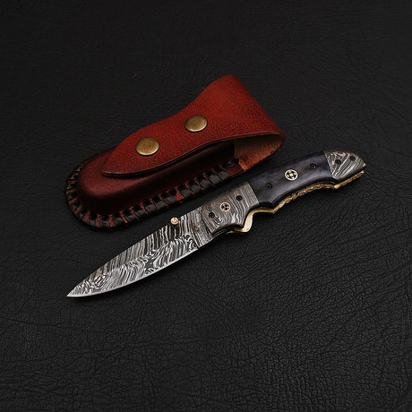 Handmade Damascus Liner Lock Folding Knife // 2733