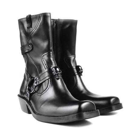 Ellis Motorcycle Boots // Black + skull (US: 7)