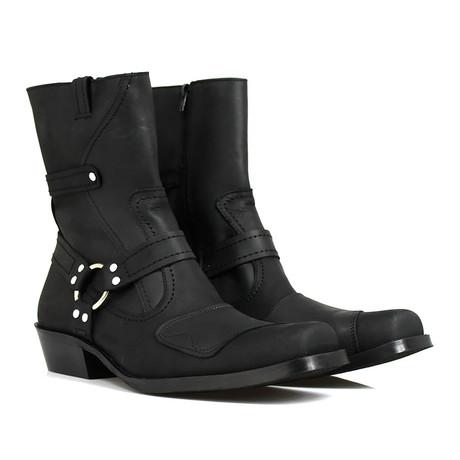 Luis Motorcycle Boots // Crazy Black Armadillo (US: 7)