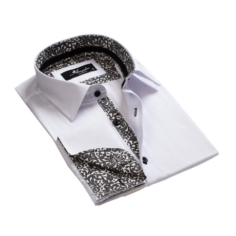 Amedeo Exclusive // Reversible Cuff French Cuff Shirt // Paisley White + Black (S)