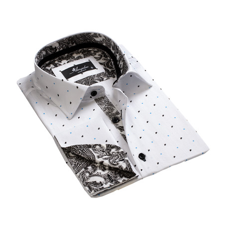 Reversible Cuff French Cuff Shirt // White + Black Paisley (S)