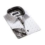 Reversible Cuff French Cuff Shirt // White + Black Paisley (3XL)