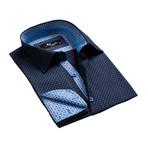 Reversible Cuff French Cuff Shirt // Dark Blue + Light Blue (L)