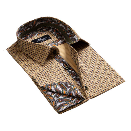 Amedeo Exclusive // Reversible Cuff French Cuff Shirt // Brown-Gold Paisley (S)
