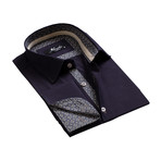 Amedeo Exclusive // Reversible Cuff French Cuff Shirt // Navy Blue Pattern (L)