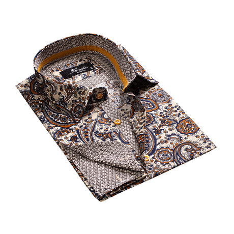 Reversible Cuff French Cuff Shirt // Fun Paisley + Tan (S)