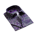 Reversible Cuff French Cuff Shirt // Purple Paisley (S)