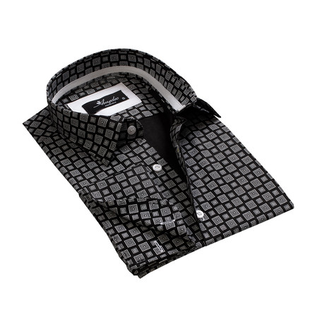 Amedeo Exclusive // Reversible Cuff French Cuff Shirt // Black + Gray Squares (S)