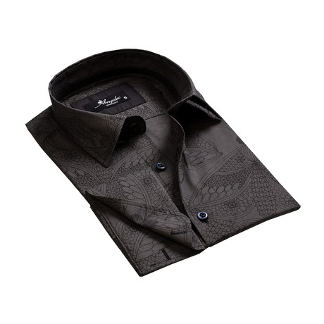 Reversible Cuff French Cuff Shirt // Black Paisley (S)