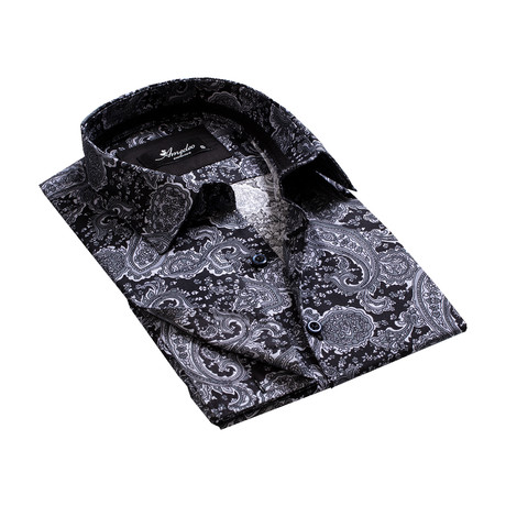 Reversible Cuff French Cuff Shirt // Black + Gray Paisley (S)
