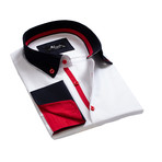 Reversible Cuff French Cuff Shirt // White + Navy Blue + Red (2XL)